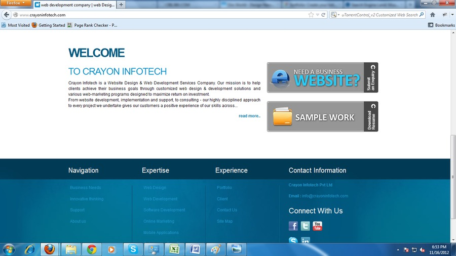 A great web design by Crayon Infotech Pvt. Ltd., Mumbai, India: