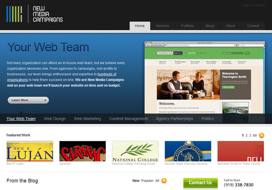 A great web design by New Media Campaigns, Charlotte, NC: