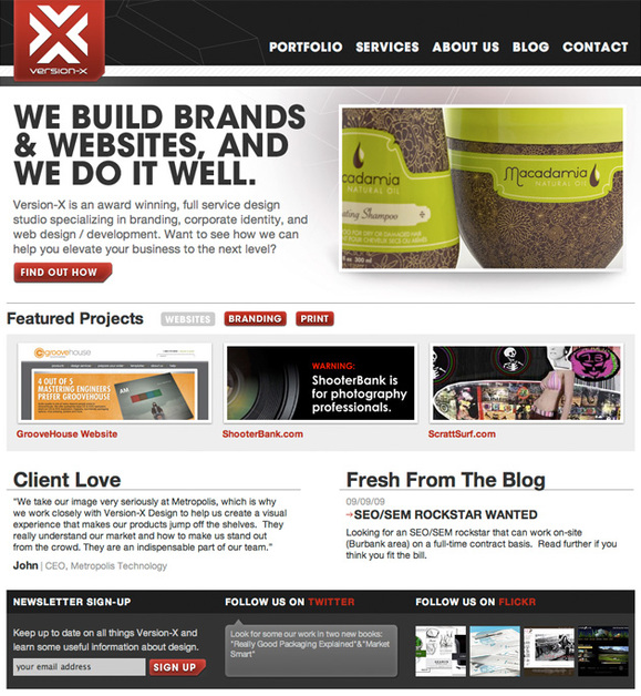A great web design by Version-X Design, Los Angeles, CA: