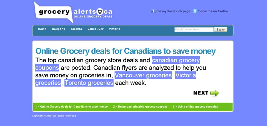 A great web design by Grocery Alerts Canada, Vancouver, Canada:
