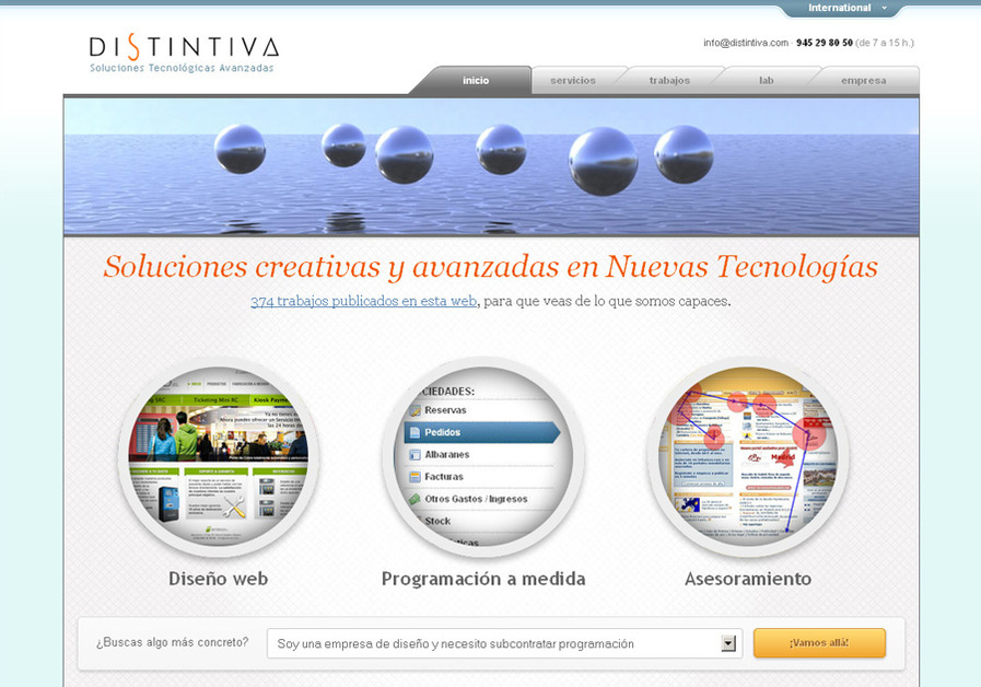 A great web design by distintiva.com, Alava, Spain: