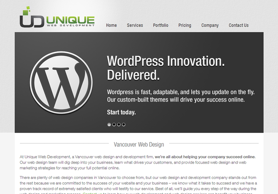A great web design by Unique Web Development, Vancouver, Canada:
