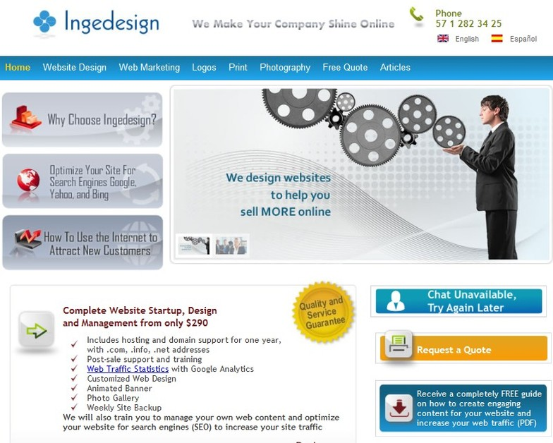 A great web design by Ingedesign, Bogota, Colombia: