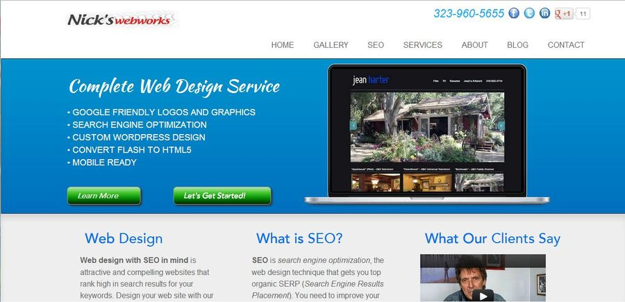 A great web design by nickswebworks, Los Angeles, CA: