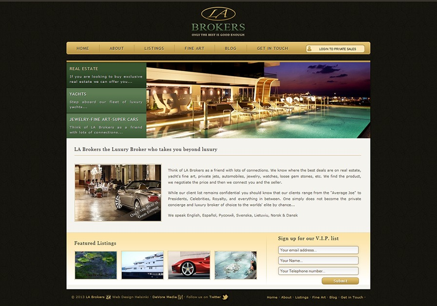 A great web design by DeVore Media, Helsinki, Finland: