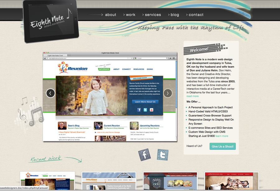 A great web design by Eighth Note Media Solutions, Tulsa, OK: