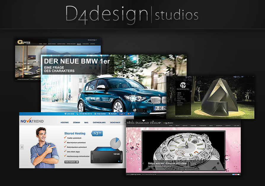 A great web design by D4design Studios GmbH, Zurich, Switzerland:
