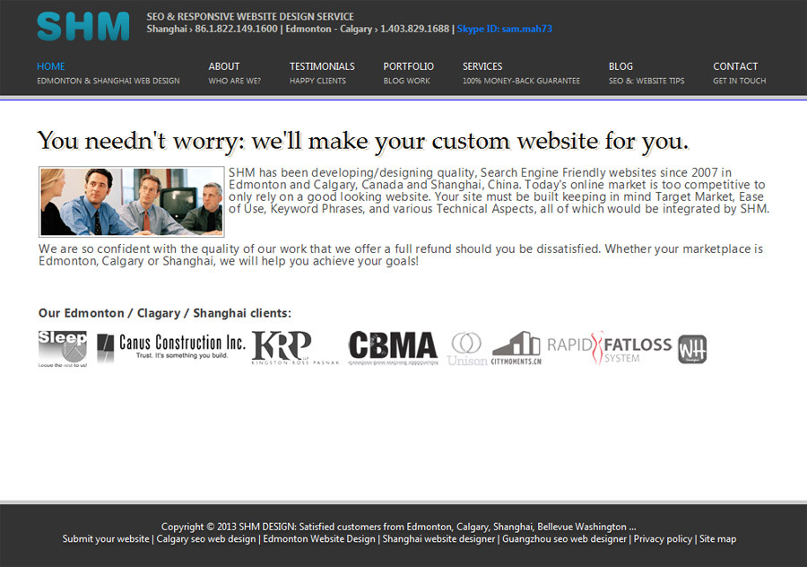 A great web design by SHM, Edmonton, Canada: