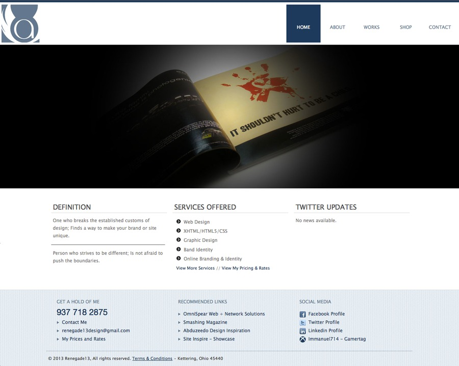 A great web design by Renegade13, Kettering, OH: