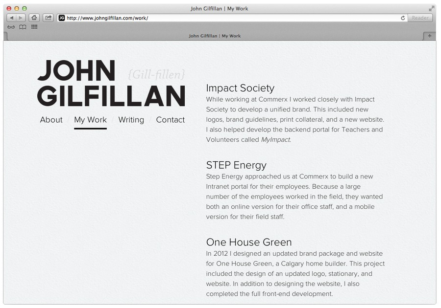 A great web design by John Gilfillan, Calgary, Canada: Portfolio