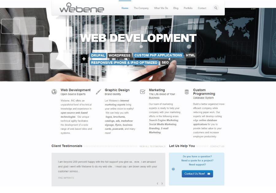 A great web design by Webene, Inc., San Diego, CA: