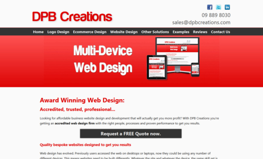 A great web design by DPB Creations, Auckland, New Zealand: Responsive Website, Portfolio , Internet , PHP