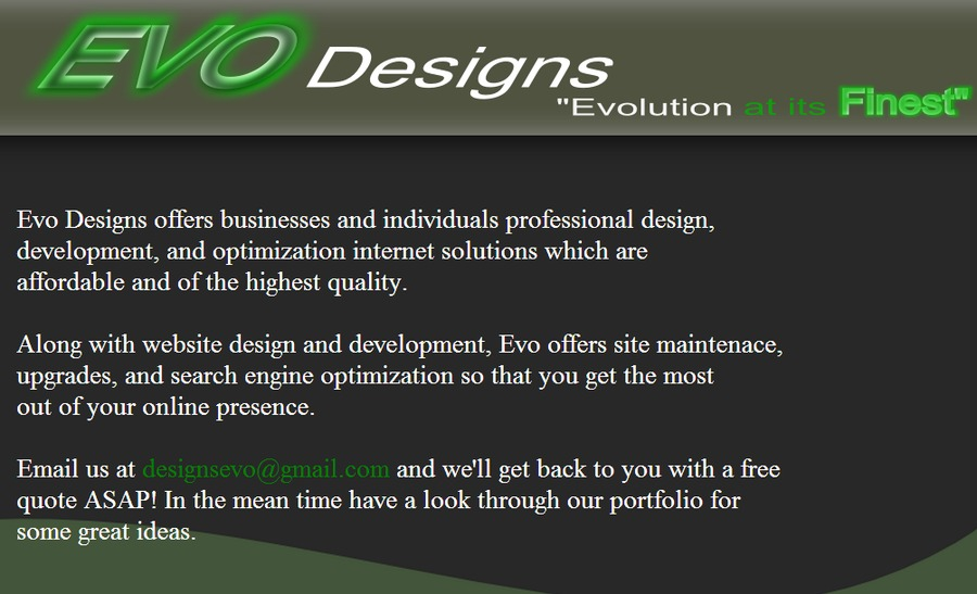 A great web design by Evo Designs, Guelph, Canada: