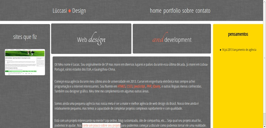 A great web design by Lüccasi Design, Sao Paulo, Brazil:
