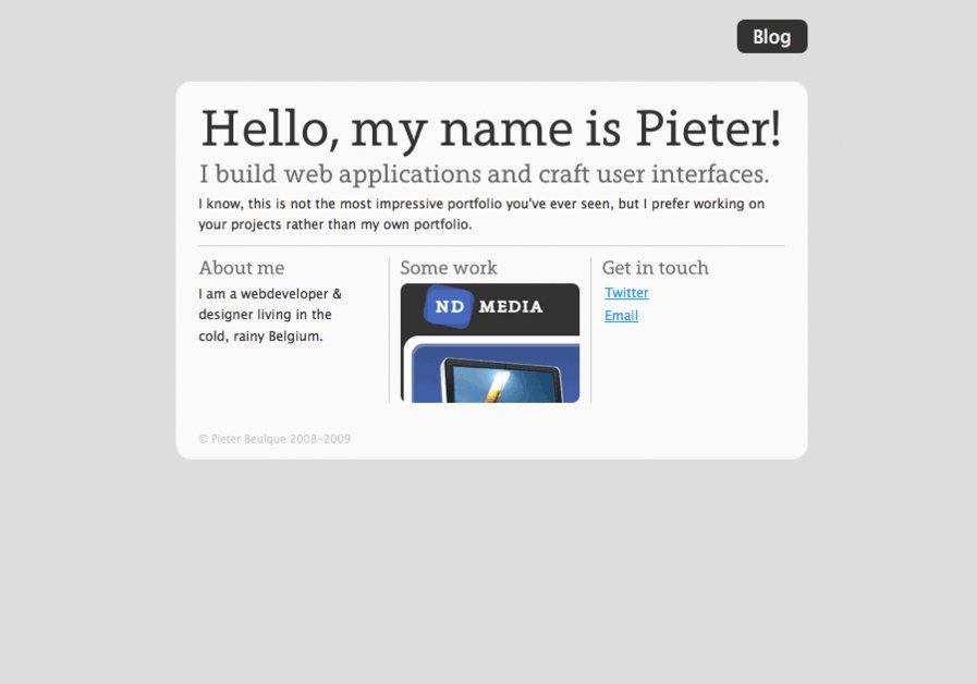 A great web design by Pieter Beulque, Waregem, Belgium: