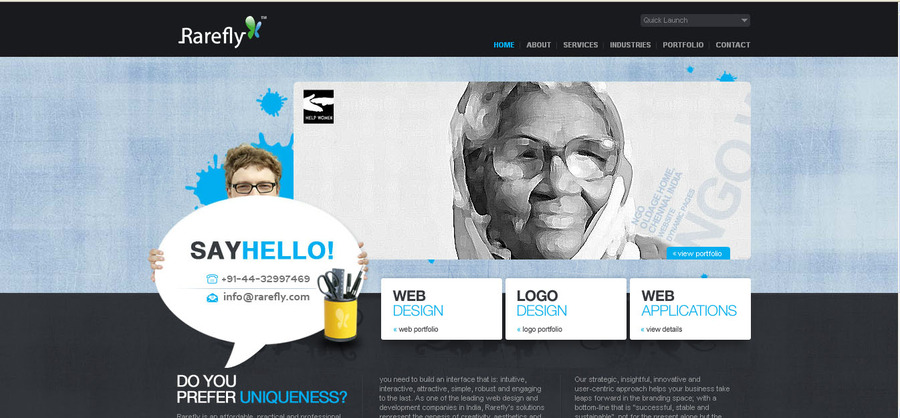 A great web design by Rarefly, Chennai, India: