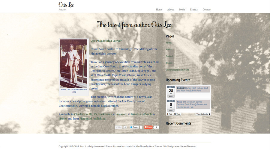 A great web design by Diana Williams, Charlottesville, VA: