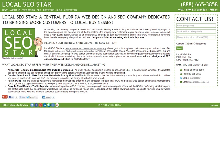 A great web design by Local SEO Star, Lake Placid, FL: