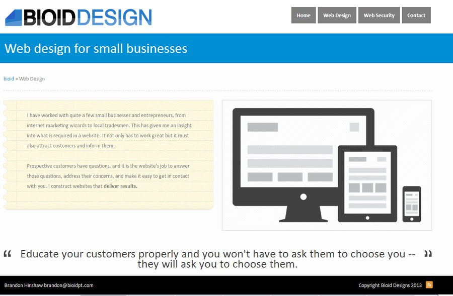 A great web design by Brandon Hinshaw, Riverside, CA: Responsive Website, Portfolio , Technology , PHP