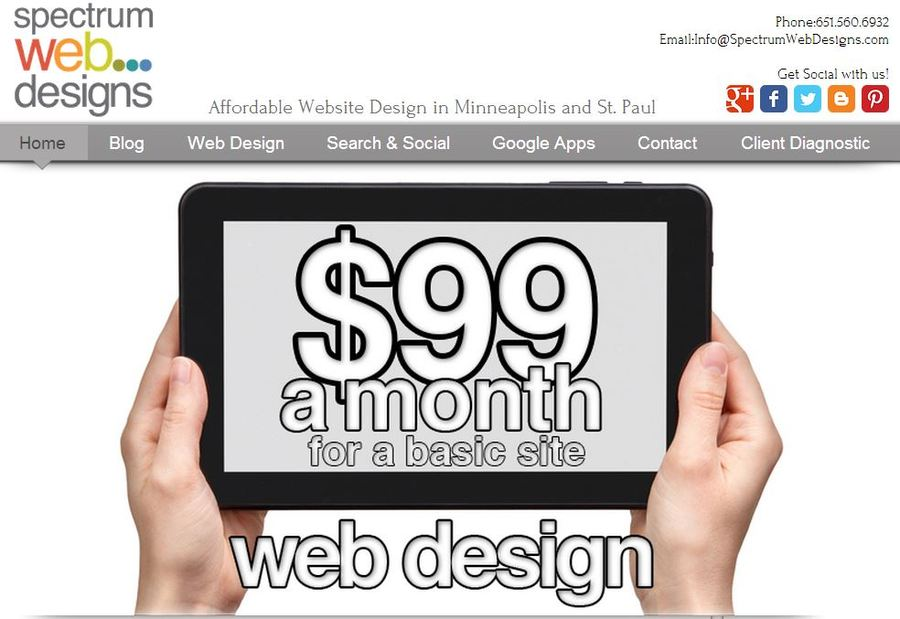 A great web design by Spectrum Web Designs, Minneapolis, MN: