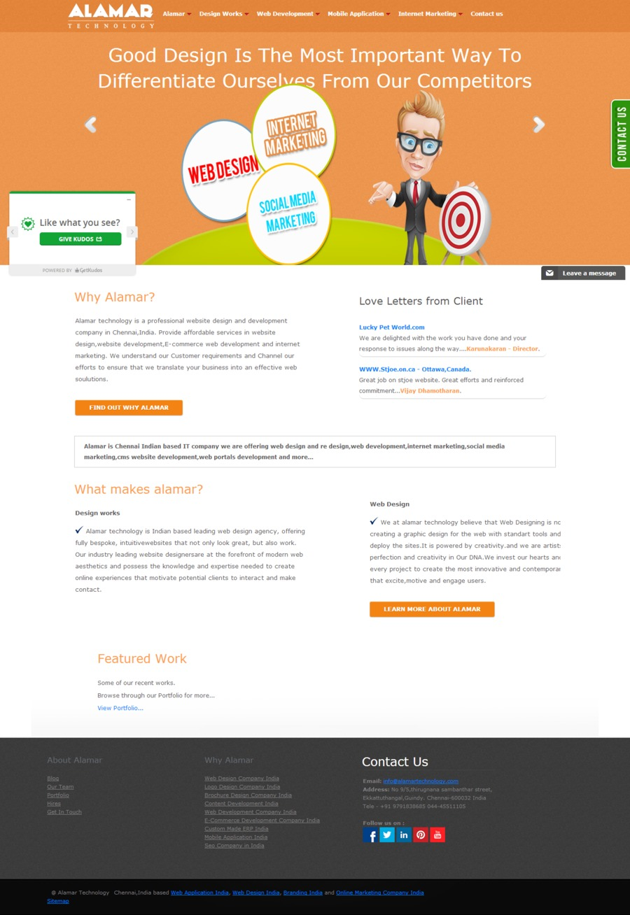 A great web design by Alamar Technology, Chennai, India: