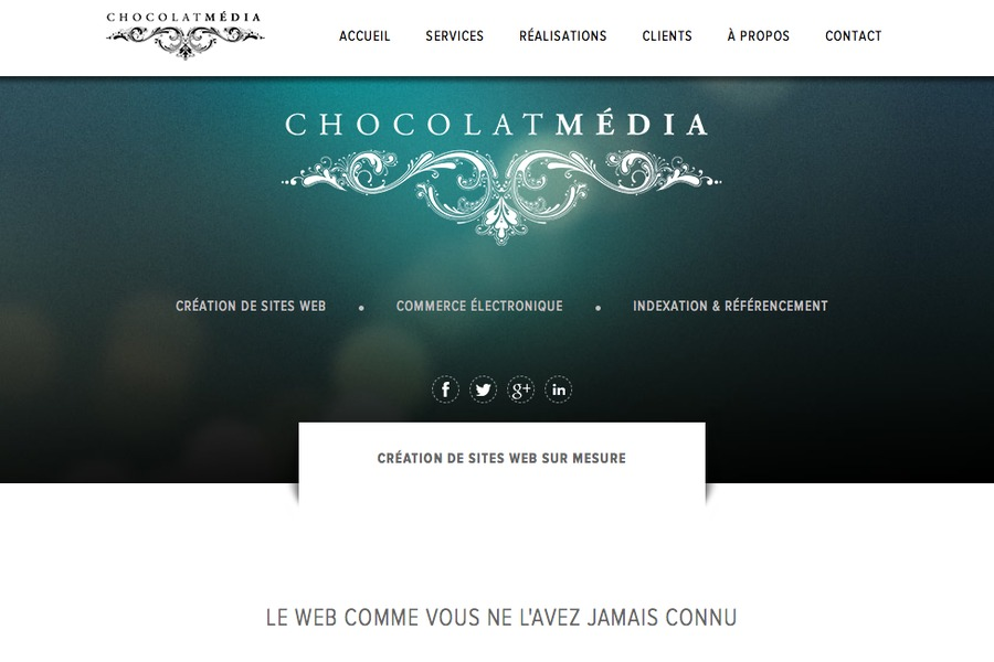 A great web design by Chocolat Media, Montreal, Canada: