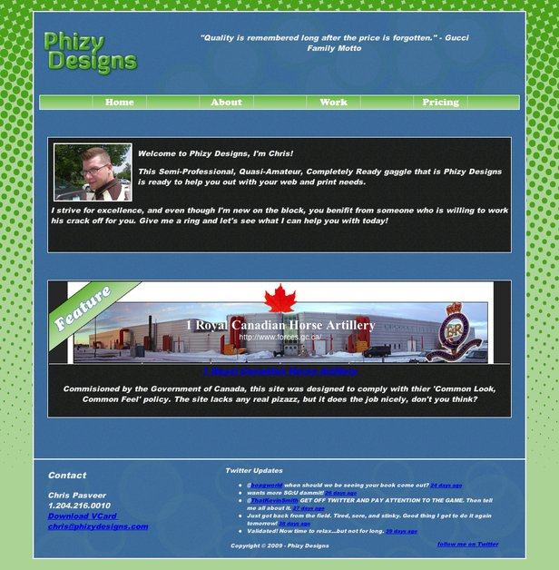 A great web design by Phizy Designs, Winnipeg, Canada: