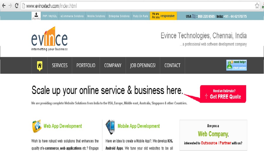 A great web design by Evince Technologies, San Francisco, CA: