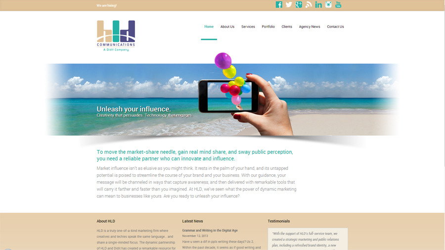 A great web design by HLD Communications, New York, NY: Marketing