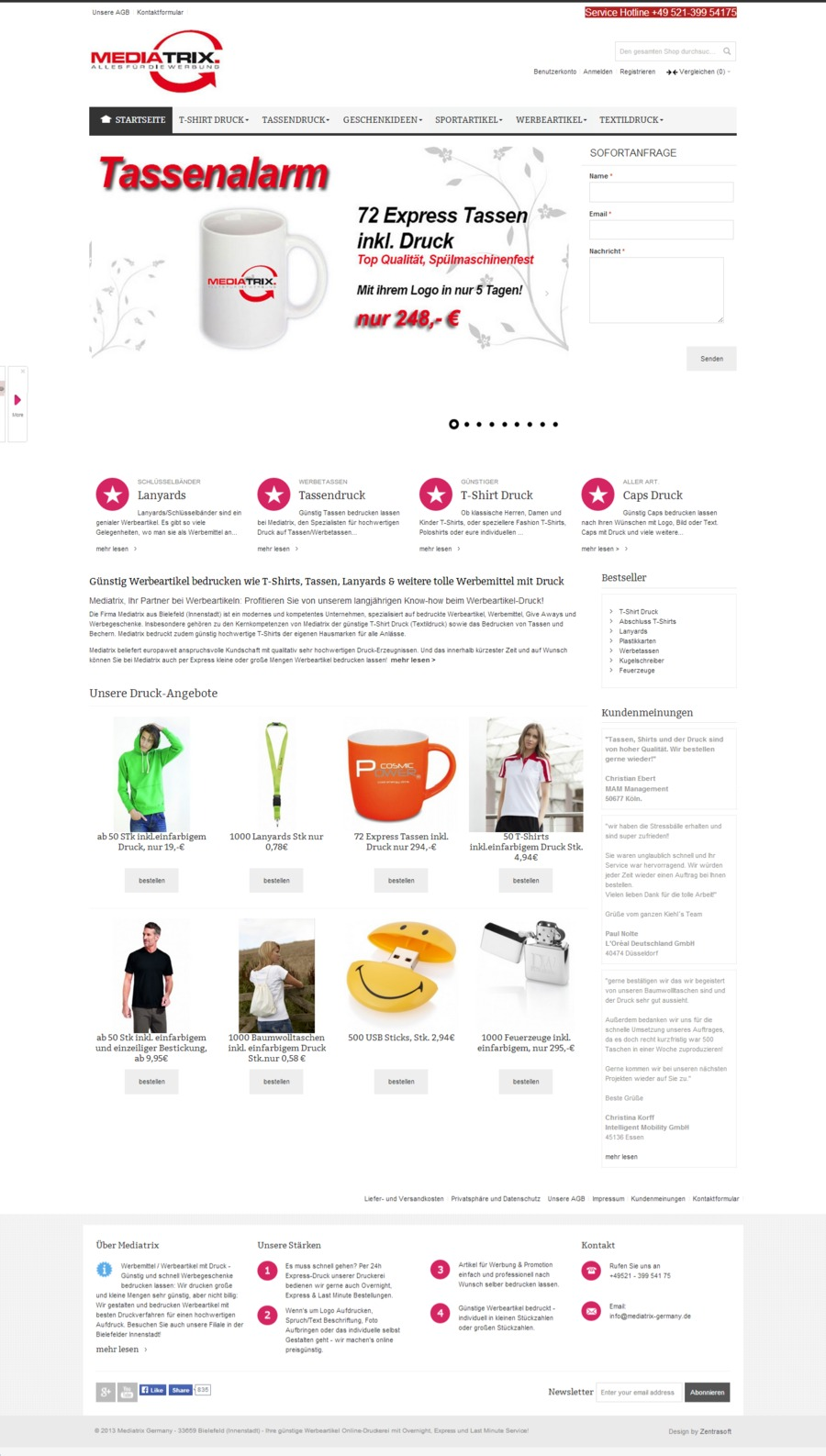 A great web design by Zentrasoft, Paderborn, Germany: Responsive Website, E-Commerce , Service