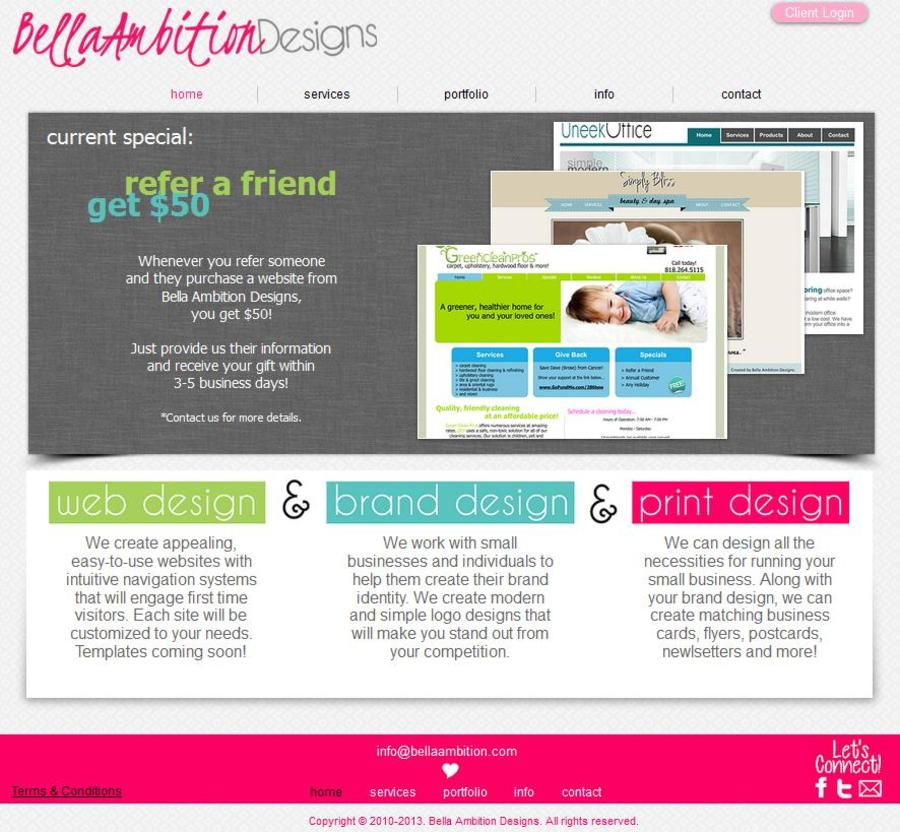 A great web design by Bella Ambition Designs, Los Angeles, CA: Website, Service