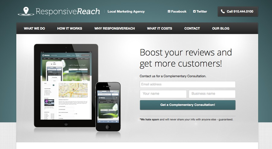 A great web design by ResponsiveReach.com, Wilmington, NC: