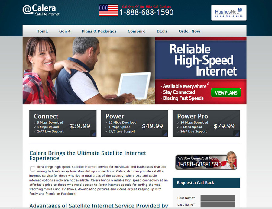 A great web design by Calera Highspeed Satellite Internet, Dallas, TX: