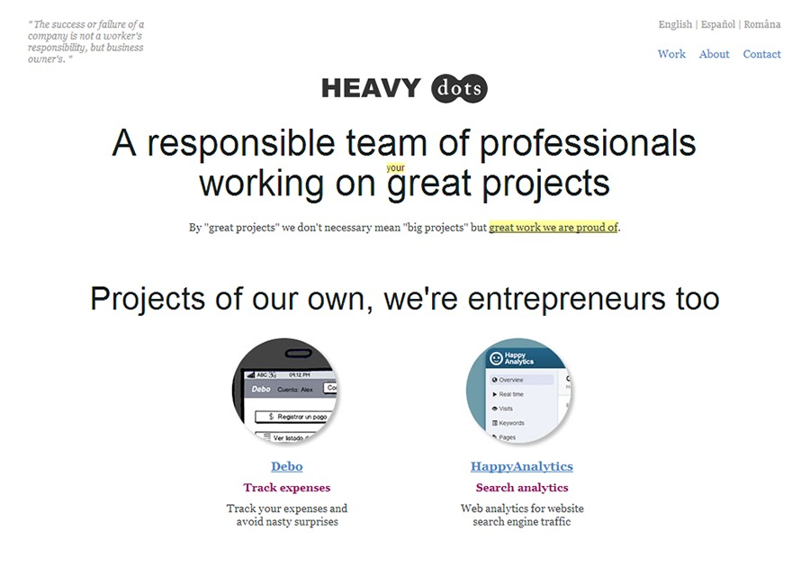 A great web design by HeavyDots, Barcelona, Spain: