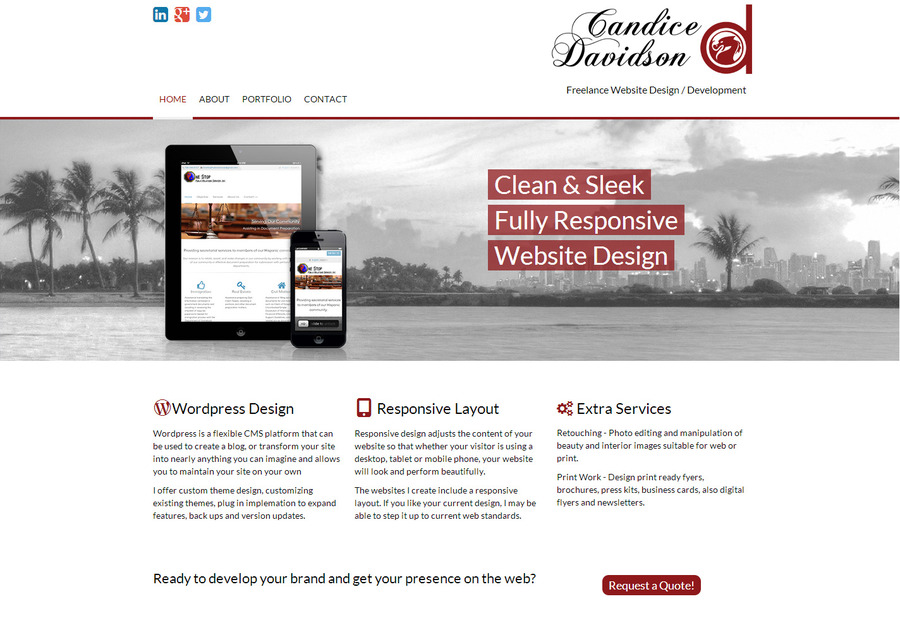 A great web design by Candice Davidson, Miami, FL: Responsive Website, Internet , PHP