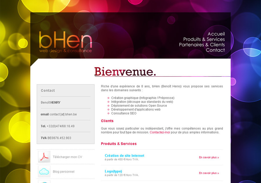 A great web design by BHen, Tournai, Belgium: