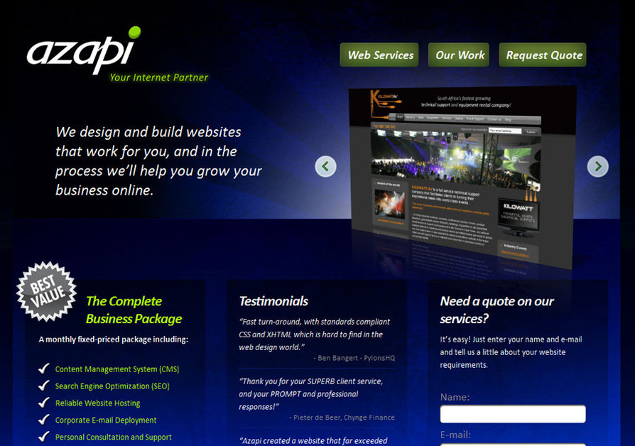 A great web design by Azapi, Cape Town, South Africa: