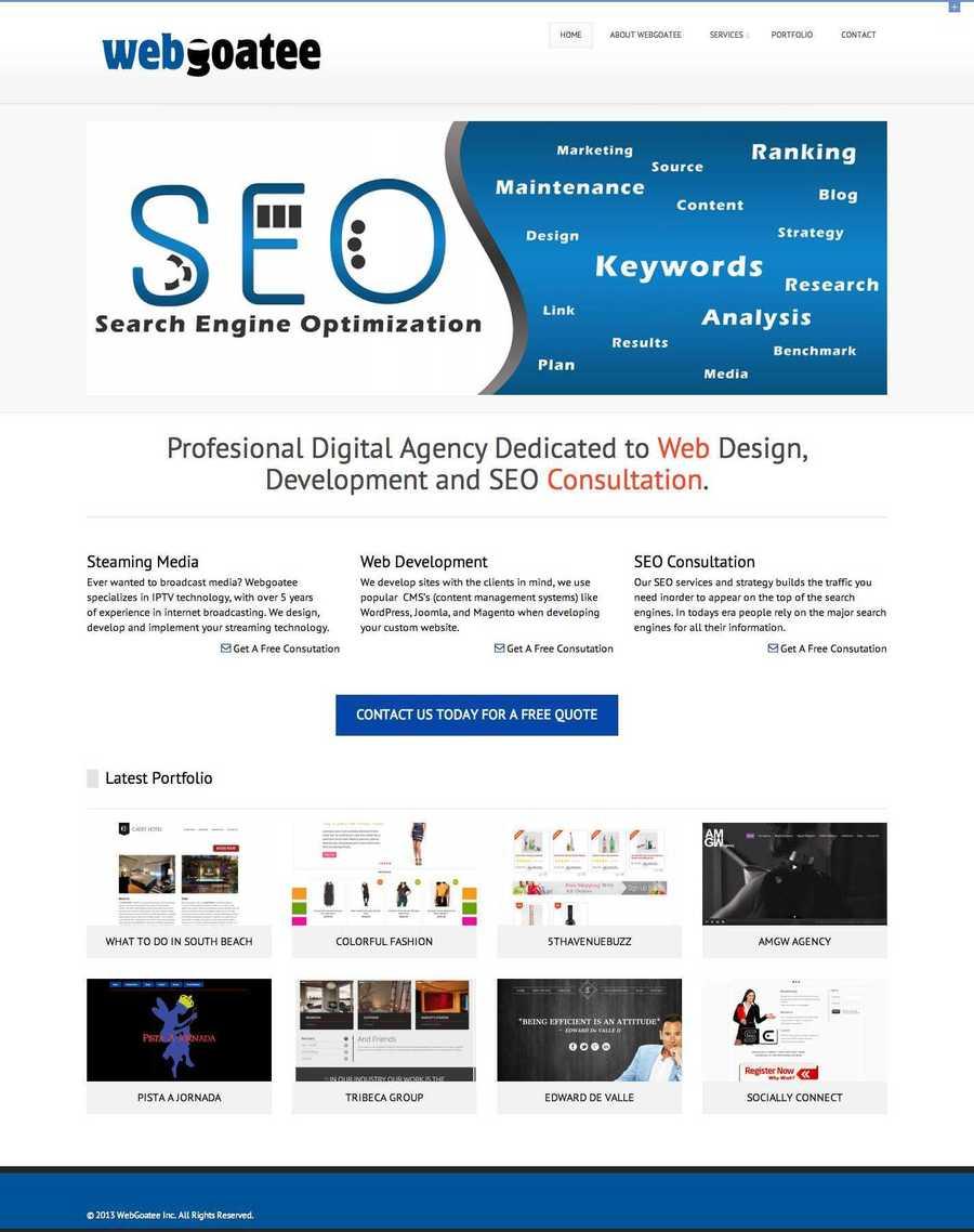 A great web design by Webgoatee, Miami, FL: