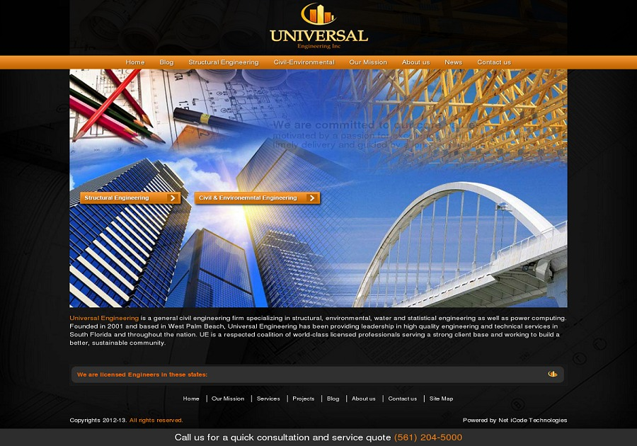 A great web design by Universal Engineering, West Palm Beach, FL: