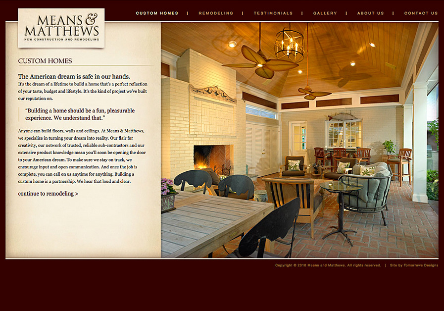 A great web design by Tomorrows Designs, Dallas, TX: