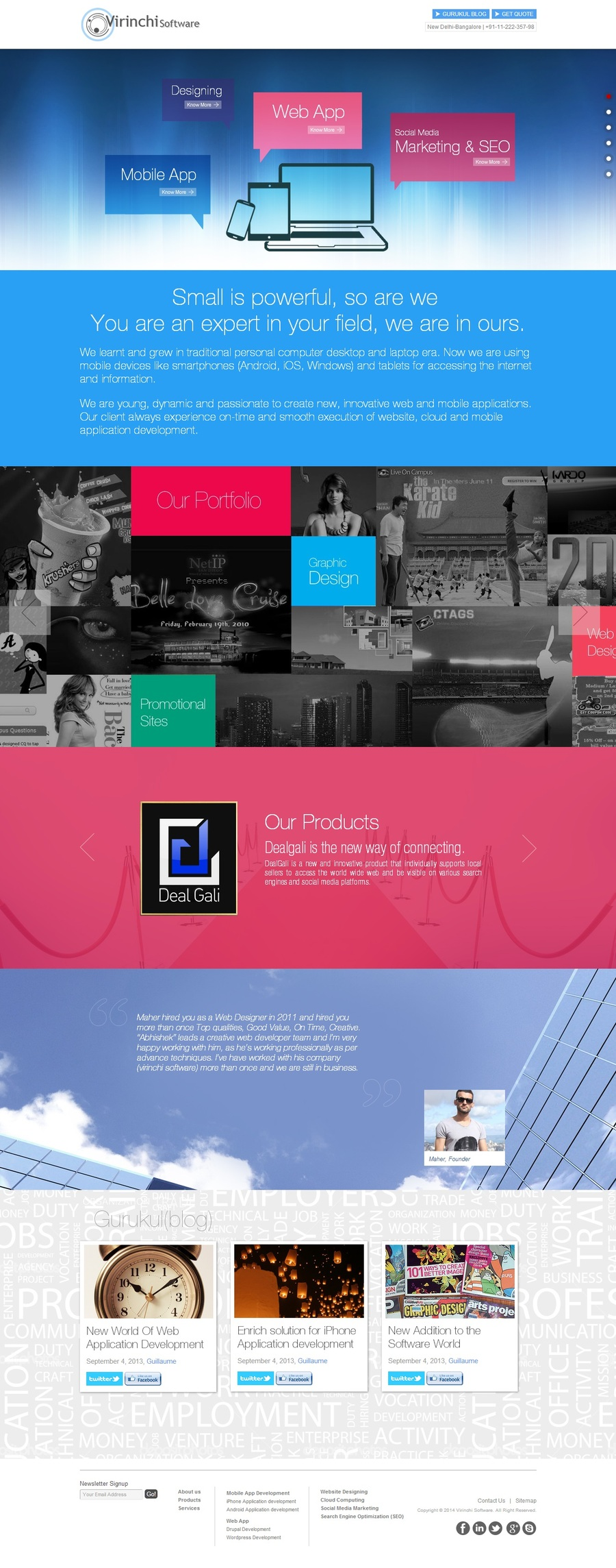 A great web design by Virinchi Software Pvt. Ltd., New Delhi, India: Responsive Website, Web Application , Technology , PHP