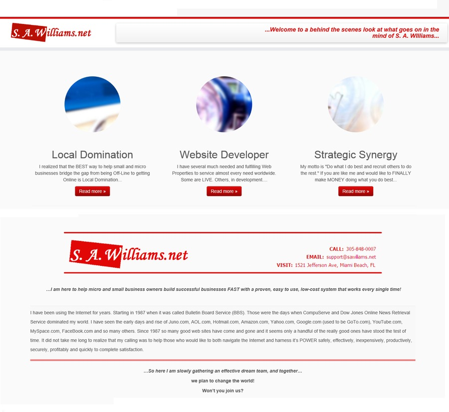 A great web design by S. A. Williams, Miami Beach, FL: