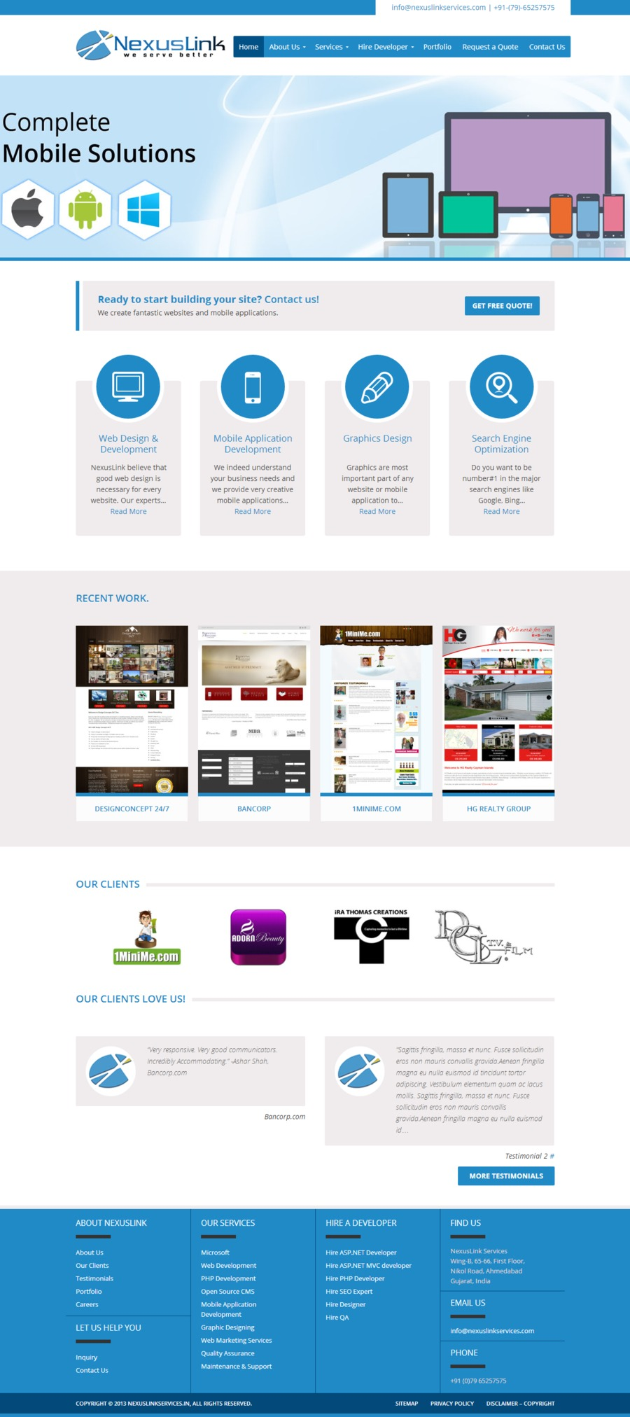 A great web design by NexusLink Services, Ahmedabad, India: