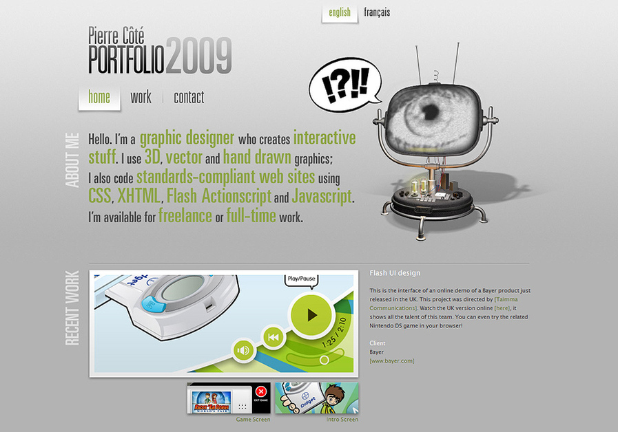 A great web design by Pierre Cote, Montreal, Canada: