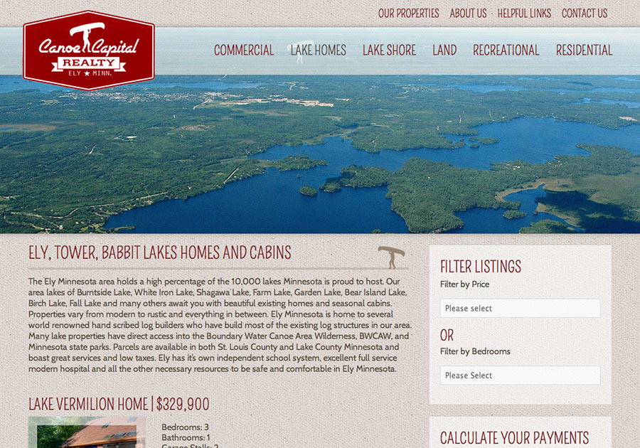 A great web design by W.A. Fisher, Duluth, MN: