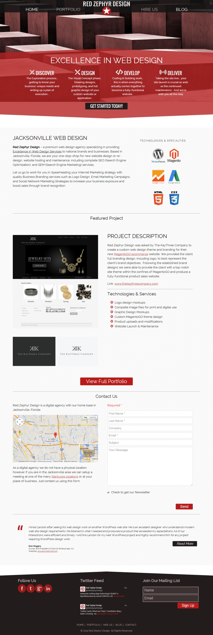 A great web design by Red Zephyr Design, Jacksonville, FL:
