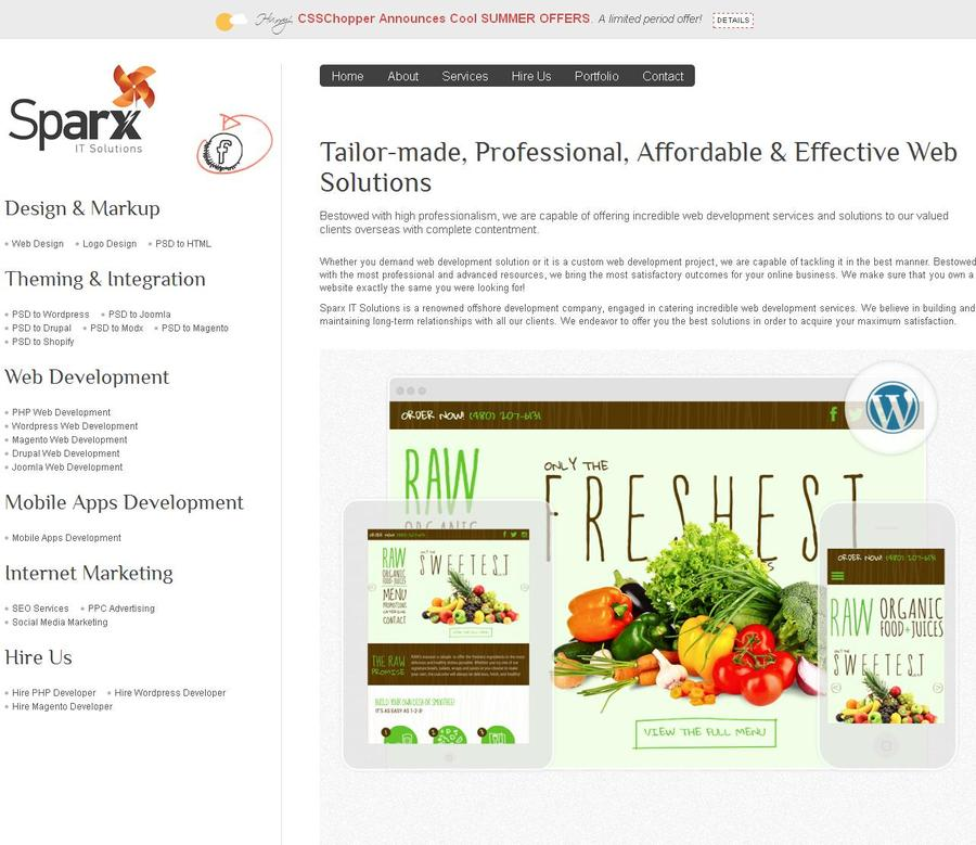 A great web design by Sparx IT Solutions, Noida, India: