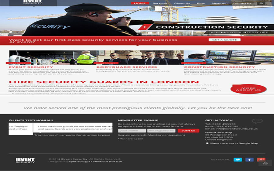 A great web design by Construction Site Security in London, London, United Kingdom: