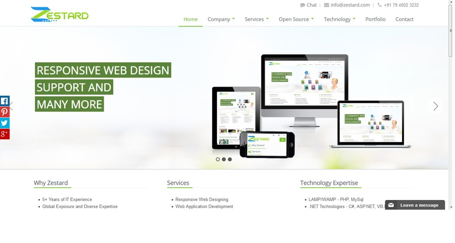 A great web design by Zestard Technologies, Ahmedabad, India: Responsive Website, Portfolio , Technology , PHP