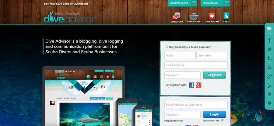 A great web design by Dive Advisor, Dubai, United Arab Emirates: